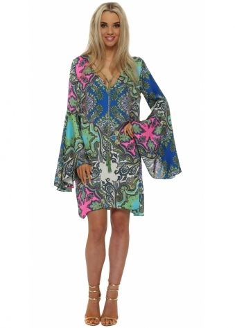Just M Paris Paisley Print Flared Sleeve Tunic Dress