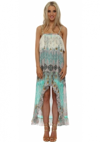 Aqua Chiffon Paisley Hi Lo Dress