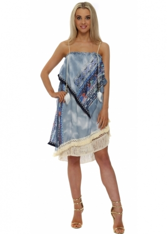 Blue Aztec Diamonte Layered Mini Tunic Dress