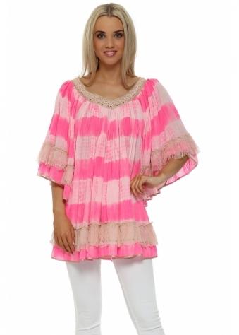 Laurie & Joe Candy Pink Boho Tie Dye Pearl Tunic Top