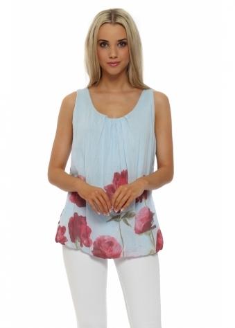 Pinka Blue Poppy Print Silk Vest Top