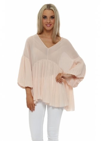 Nude Pleated Puffball Tunic Top