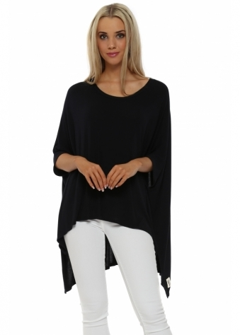 A Postcard From Brighton Fran Black Hi Lo Jersey Poncho Top