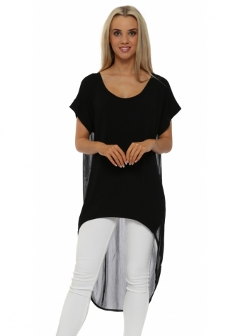 A Postcard From Brighton Black Veruska Chiffon Back Dip Hem Top