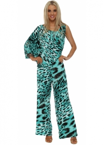 Turquoise Leopard One Sleeve Jumpsuit