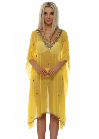 Chiktones Yellow Gold Sequin Crystal & Beaded Kaftan