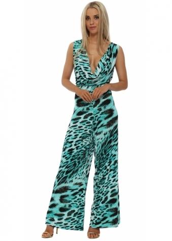My Story Turquoise Leopard Cowl Drape Jumpsuit