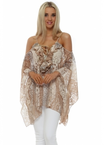 My Story Beige Lace Ruffle Cold Shoulder Top