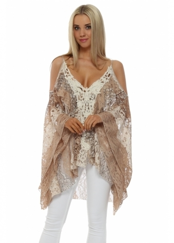 My Story Beige Lace Crochet Panel Cold Shoulder Top