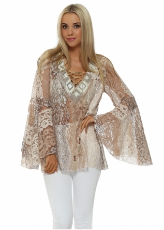 My Story Beige Lace Beaded Neckline Bell Sleeve Top