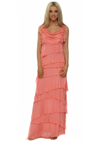Sugar Babe Coral Frayed Silk Layered Maxi Dress