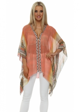 My Story Coral Scarf Print Beaded Panel Top