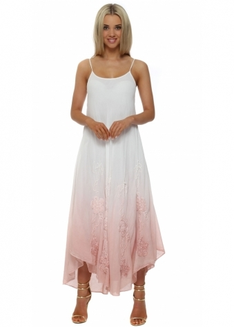 Italian Boutique Pink & White Embroidered Cotton Maxi Dress