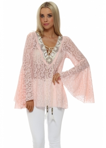 My Story Pink Lace Beaded Neckline Bell Sleeve Top