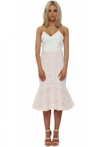 The 8th Sign Aurora Fishtail Dress In Nude & White