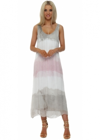 Pinka Pink & Taupe Silk Ankle Grazer Maxi Dress