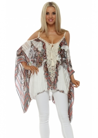 My Story Paisley Print Lace Panel Cold Shoulder Top