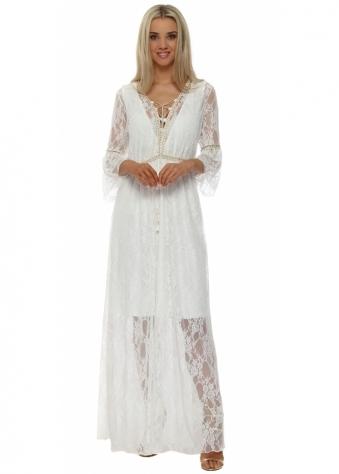 My Story White Lace Boho Maxi Kaftan Dress