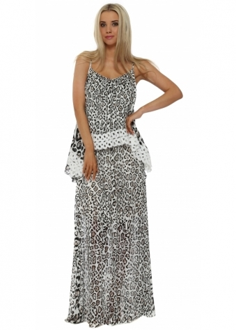 Leopard Print Lace Bib Maxi Dress