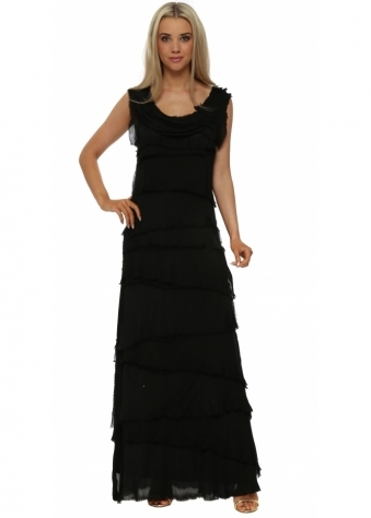 Sugar Babe Black Frayed Silk Layered Maxi Dress