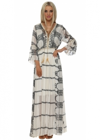 Beige Abstract Print Maxi Kaftan Dress