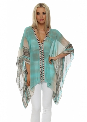 My Story Turquoise Scarf Print Beaded Panel Top