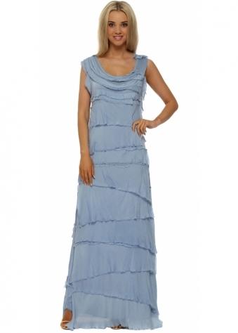 Sugar Babe Blue Frayed Silk Layered Maxi Dress