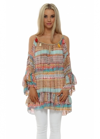 My Story Aztec Boho Paisley Cold Shoulder Tassel Tunic