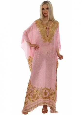 Wild Baroque Pink & Gold Crystal Maxi Silk Kaftan