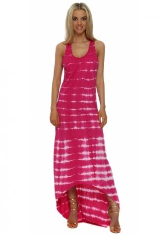 Italian Boutique Pink & White Tie Dye Cotton Maxi Dress