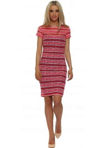 Pink Stripe Lace Bodycon Dress