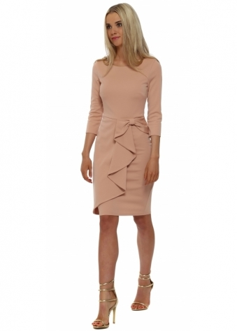 Nude Bow Waterfall Peplum Pencil Dress