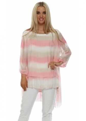 J&L Paris Sherbet Striped Silk Sequin Lace Sleeve Top
