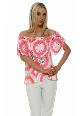 Just M Paris Neon Pink Crochet Lace Off The Shoulder Top