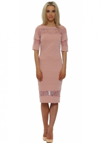 Blush Pink Lace Insert Pencil Dress