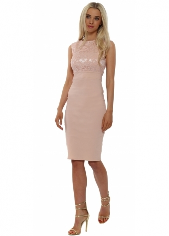 Nude Lace Bodice Sleeveless Pencil Dress