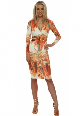 Rebecca Rhoades Katie Cream & Orange Feather Reversible Midi Dress