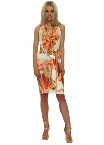 Rebecca Rhoades Becki Orange Feather Print Halterneck Dress