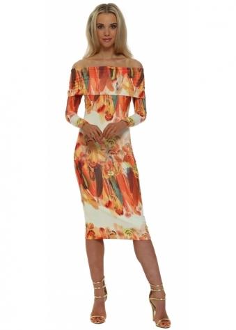 Rebecca Rhoades Violet Cream & Orange Feather Bardot Dress