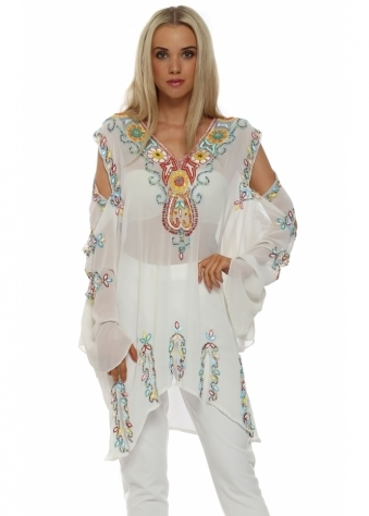 Just M Paris White Multi Beaded Cold Shoulder Kaftan