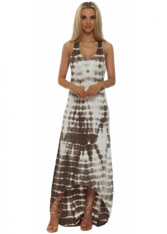 Italian Boutique Mocha & White Tie Dye Cotton Maxi Dress