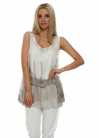 Made In Italy Taupe Silk Sequinned Layered Vest Top