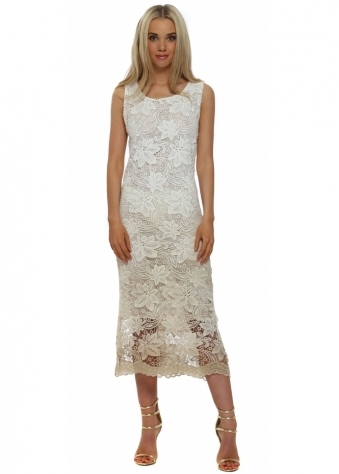 Made In Italy Beige Ombre Multi Tassle Backless Lace Dress