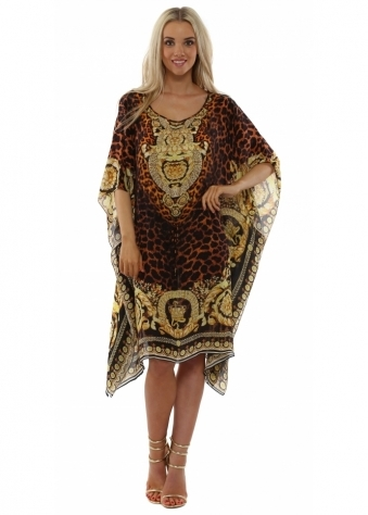 Wild Baroque Brown & Gold Drawstring Kaftan