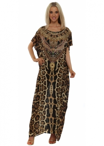 Wild Baroque Dubai Brown & Gold Crystal Maxi Kaftan
