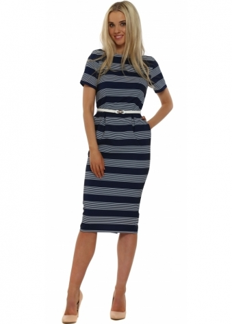 Navy Blue Stripe Belted Pencil Dress