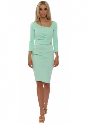 Goddess London Mint Buckle Waist Pencil Dress