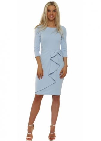 Sky Blue Bow Waterfall Peplum Pencil Dress