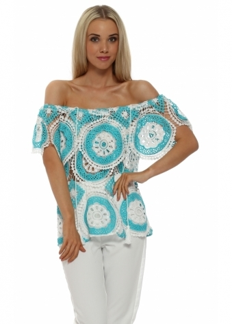 Just M Paris Turquoise Crochet Lace Off The Shoulder Top