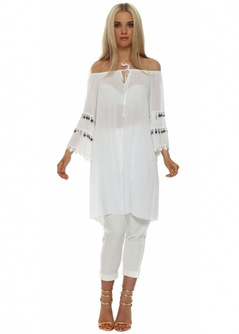 Made In Italy White Coin Detail Tunic Dress
